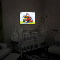 Sirens and Lights-the Firetruck Races to Rescue the Kitten in the Tree, Night Light, Illuminated Art, Wall Art, Kid's Art Doubles As A Light