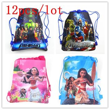 12PCS Kids Favors Moana Avengers Non-Woven Fabric Backpack Baby Shower Girl Birthday Party Drawstring Bags Decoration Supply