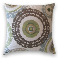 Suzani Decorative Pillow Cover--20 x 20 Gorgeous Throw Pillow--Slate Blue, Green, Taupe, Cream, Brown