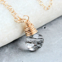 Rutilated Quartz  Necklace   Gold   Filled  Black  Gemstone Jewelry  Quartz Jewelry Gemstone Necklace Drop Pendant Rutilated Quartz Pendant