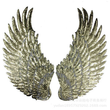 Free shipping Sequins design Wing feathers 1 pair Iron On embroidered Patches Quality cartoon Appliques garment patches badges