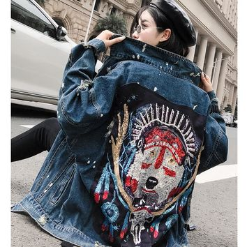 Trendy SexeMara  fashion The New Loose Beading Sequin Hole denim jacket free shipping AT_94_13