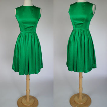 1960's green satin dress fit and flare sleeveless 60's petite mini dress XS US 4