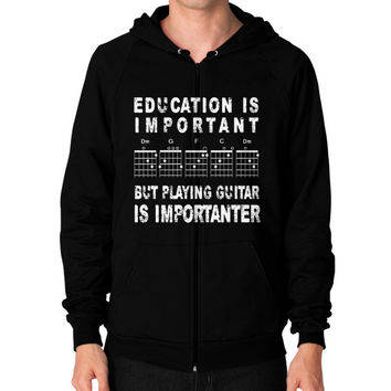 Education Is Important But Playing Guitar Is Importanter Shirt - Men's Zip Hoodie