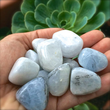 BLUE CALCITE Crystals (Grade A Natural) Tumbled Polished Gemstone Rocks for Healing, Yoga Meditation, Reiki, Wicca, Crafts Jewelry Supplies