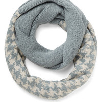 ModCloth Urban See the Sprig Picture Circle Scarf in Blue Houndstooth