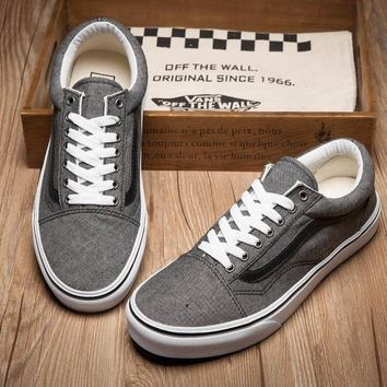 PEAPON Vans Old Skool Gray Low Tops Flats Shoes Canvas Sneakers Sport Shoes