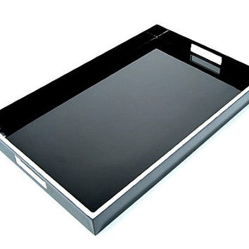 Black Lacquer Breakfast Tray with White Trim  14 x 22