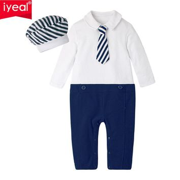 New Fashion Newborn Toddler Infant Baby Boys Romper Hat Long Sleeve Jumpsuit Gentleman Little Boy Outfits Kids Clothes