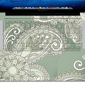 green  flower design cover  csurface Macbook Pro, Air or Ipad Stickers Macbook Decals Apple Decal for Macbook Pro / Macbook Air J-025