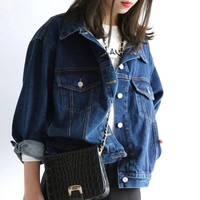women ladies long sleeve Boyfriend style denim jacket metal button Oversized Jean vintage Coat Outwear plus size