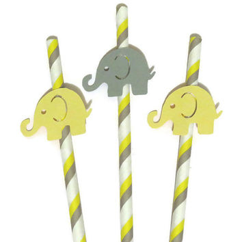 elephant straws in yellow and gray, baby shower decorations, baby elephants, babys first, childrens birthday party, set of 10