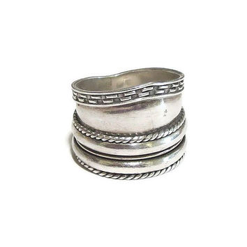 Sterling Silver Abstract Ring with Spinners Vintage Signed GeoArt 925, by Cynthia Gale, NY