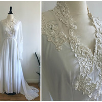 SALE! 20% Off!! // Vintage 1970s Ivory White Beaded Lace Applique High Neck Long Sleeve Boho Wedding Dress Gown