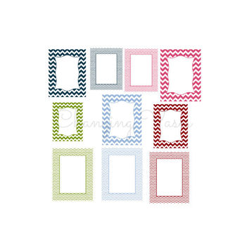 Floral Colors Chevron Frames Digital Download Borders Decorative ClipArt Clip Art Scrapbook Paper Embellishments Blue Green Pink Red
