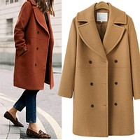 Fashion Medium Long Style Section Wool Lapel Cardigan Jacket Coat Khaki