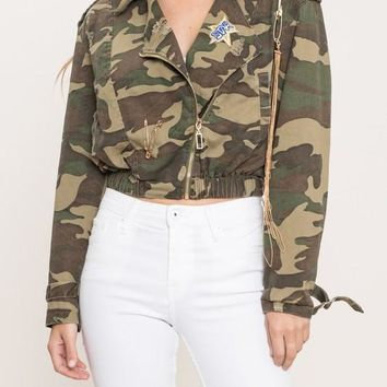 Star Patch Camo Print Jacket