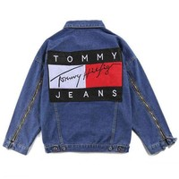 Tommy Hilfiger Fashion Distressed Denim Cardigan Jacket Coat