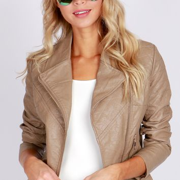 Quilted Vegan Leather Jacket Khaki