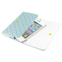 MiniSuit Universal Wallet Wristlet PU Leather Stitch Case Cover - Fits Sizes of iPhone 3, 4, 4S (Blue). LCD Cleaner Included