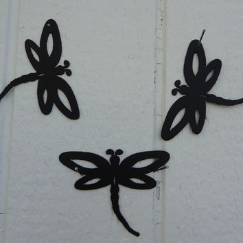 Dragonfly Set of 3 Small Decorative Metal Wall Art Accents