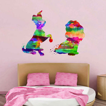 kcik2141 Full Color Wall decal Watercolor Character Disney Lady and the Tramp children's room Sticker Disney