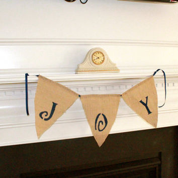 Joy Burlap Banner, Home Decor Wall Hanging