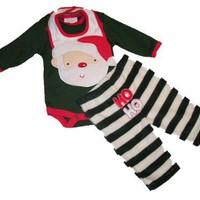 Bon Bebe Baby/Infant Unisex 3 Piece Christmas Set - Bodysuit/Bib/Pant