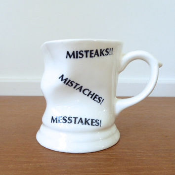 Vintage mistakes coffee mug, misteaks novelty mug
