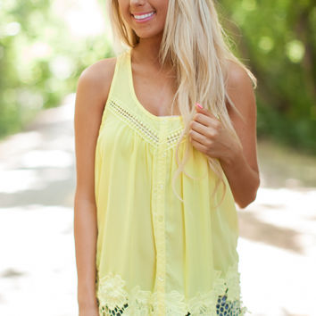 Lemon Crochet Detail Button Front Tank