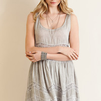 Sleeveless Acid Washed Baby Doll Dress - Mocha