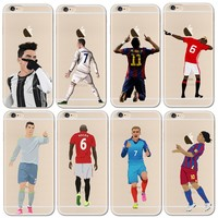 Clear Soft Phone Case Cover For iphone 6 6S 7 7Plus 5S Silicone Coque Sport Football Soccer Star Cristiano Ronaldo Messi pogba