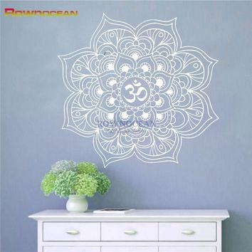 Mandala Wall Stickers Decor Indian Yoga Oum Om Sign Decal Vinyl Bedroom Art Indian Wall Sticker Removable Decal Mandala M602