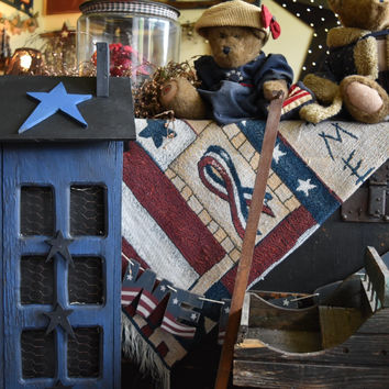 Primitive,Distressed, Saltbox Country House, Rustic Exclusive House, Country Blue