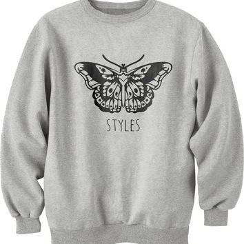 Harry Styles butterfly Tattoo Unisex Crewneck Sweatshirt Maroon S to 3XL