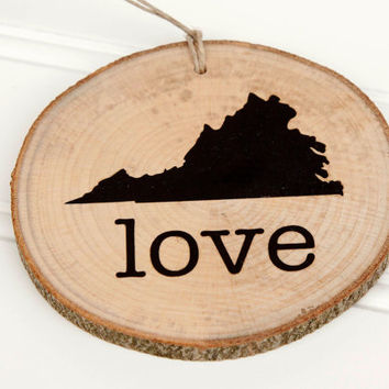 "Virginia ""Love"" state shape Maple wood slice ornaments Set of 4.  Wedding favor, Bridal Shower, Country Chic, Rustic, Valentine Gift"