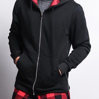 Plaid Flannel Accent Long Length Zip Hoodie