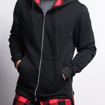 Plaid Flannel Accent Long Length Zip Hoodie JK723 - E5C