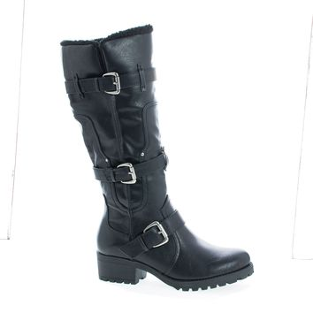 Capture07 Black Pu By Bamboo, Knee High Faux Shearling Lug Sole Moto Boots