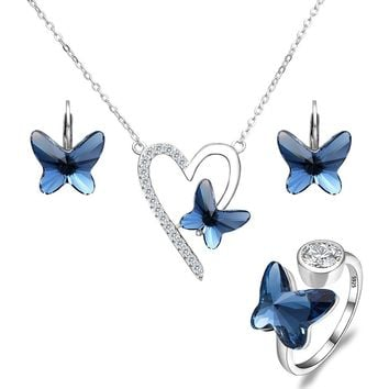 925 Sterling Silver Love Heart Butterfly Made with Swarovski Crystals Pendant Necklace Stud Earrings Ring Set