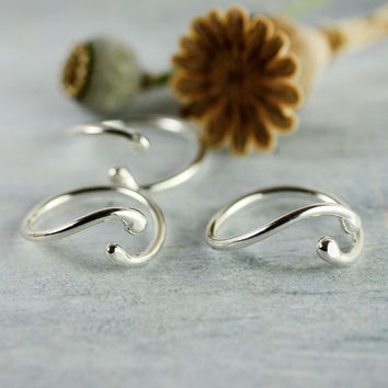 Yin Yang Ring in Sterling Silver - Adjustable Ring