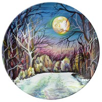 Silent Night Winter Full Moon in Sweden Porcelain Plate
