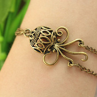 bracelet--octopus bracelet,retro bronze charm,hollow out octopus pendant,alloy chain