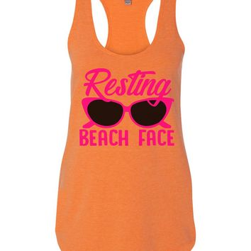 Resting Beach Face Womens Workout Tank Top