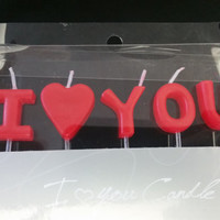 """I HEART YOU Candles in Passionate Red - I LOVE You Candles - 1"""" tall and 3/4"""" wide (2.5cm by1.8 cm) - I <3 You - Clear 1.5"""" Picks to Stand -"""