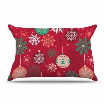 "julia grifol ""Christmas Balls"" Red Green Pattern Holiday Vector Pillow Sham"