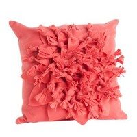 "Felt Flower Decorative Throw Pillow. 17""x17"". (Coral, One Size)"