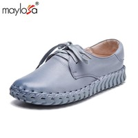 MAYLOSA 100% Genuine Leather Flat shoes Plain toe Lace up Ladies Shoes Ladies Moccasins spring  Female Loafers shoes