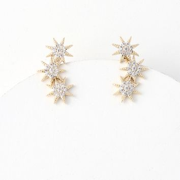 Extragalactic Gold Rhinestone Earrings