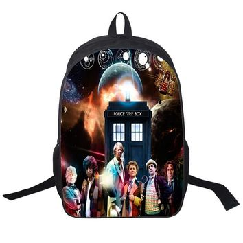 16 Inch Doctor Who Public Call Police Box Backpack For Teenagers Boys Girls School Bags Women Men Travel Bag Children Backpacks
